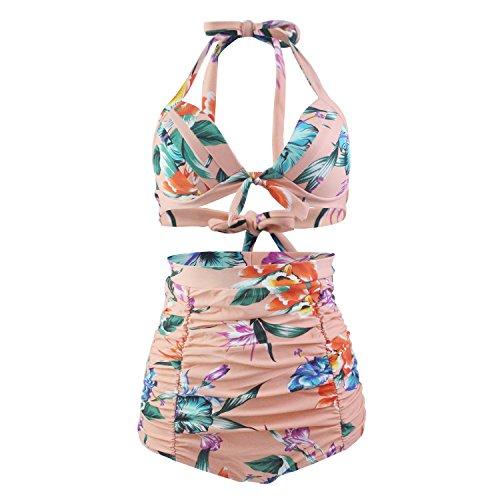 Laorchid 50s Vintage Damen Badeanzug Bauchweg Hoher Taille Bikini Set Push Up Bügellos beige Blumen M