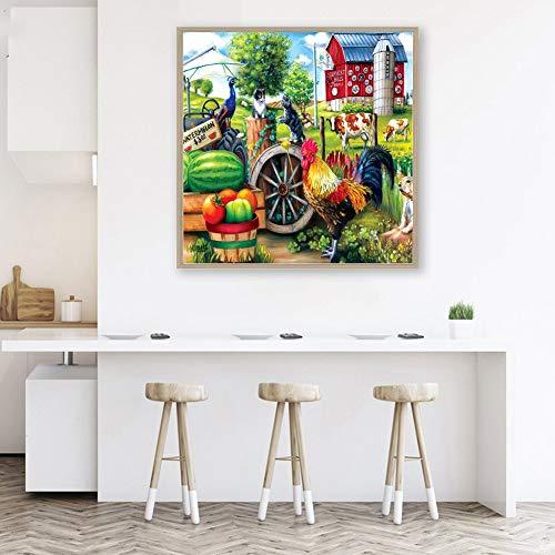 DIY Diamantgemälde von illuMMW 30 x 30 cm Hahn Obst Gemüse Bauernhof Kreuzstich DIY Full Square Diamant Gemälde - LM007 -