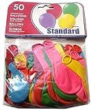 parquet de 50 ballons ronds standard couleurs assorties fête anniversaire déco. longueur(non gonflé): 10 cm env. largueur(non gonflé): 5 cm env.