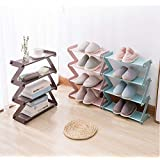 Furn Aspire 4 Layer Z Type Lightweight Sleek Space Saving Shoe Rack (A. Brown)