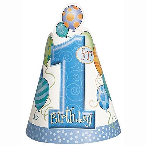Blau Luftballons 1. Geburtstag Party Hüte, 8Stück