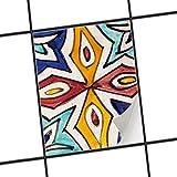 creatisto Bad Küche Fliesensticker Aufkleber Folie | Bad-Folie Küchenfliesen ergänzend zu Kühlschrankmagnet Baddeko | 15x20 cm Muster Ornament Spanish Tile 4-1 Stück