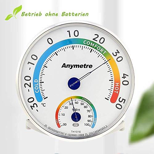 AGM Thermohygrometer, Luftfeuchtigkeitsmesser Analog Thermometer Hygrometer für Innen Durchmsser 13 cm