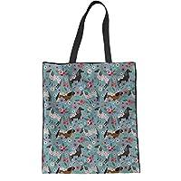 HUGS IDEA Appaloosa Horse Cotton Handbags Shoulder Bag Student College Bookbag Tote Bag