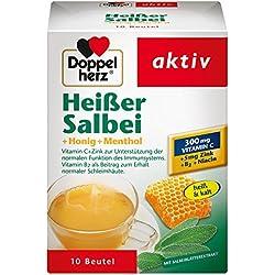 Doppelherz Heißer Salbei mit Honig und Menthol – Mit Zink zur Unterstützung der normalen Funktion des Immunsystems – 12 x 10 Beutel