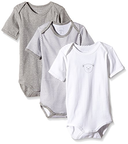 NAME IT Baby-Jungen Body NITBODY SS M NOOS, 3er Pack, Gr. 98, Mehrfarbig (Grey Melange)