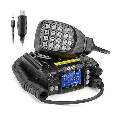 QYT KT-7900D Mini Mobile Transceiver Quad Band 136~174/400~480MHz /220~260MHz/350~390MHz Amateur Car Radio+Programming Cable -
