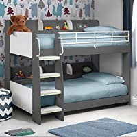 Happy Beds Domino Wooden and Metal Kids Storage Bunk Bed Modern Sleep Station
