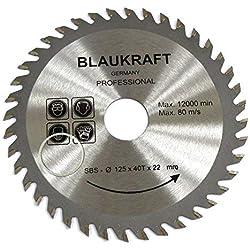 Lame de scie pour MEULEUSE 125mm pour bois Disque de coupe circulaire 125x22x40T TCT 125mm 5inch
