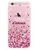Evetane Coque Compatible avec iPhone 6 iPhone 6S Transparente Rigide Solide Maman Damour Ecriture Motif Tendance