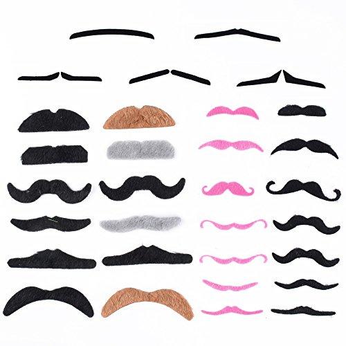 DEOMOR 43 Stück Schnurrbart Set Falsche Schnurrbärte Selbstklebend Falscher Bart Zum aufkleben für Fasching Halloween Karneval Kostüm Fotoshootings