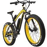 LANKELEISI 26 Zoll All-Terrain Leistungsstark E-Bike Fett 500 W Motor 48 V10Ah eBike Shimano 7 Speed Snow Mountain MTB Faltbar Elektro-Fahrrad, Schwarz/Gelb