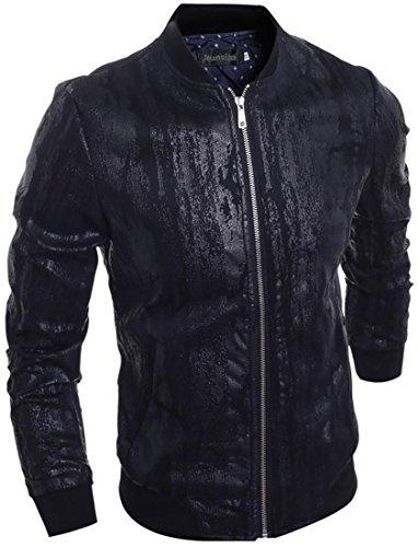 jeansian Nero Cool Uomo PU Pelle Cerniera Biker Giacca Cappotto Capispalla Jacket 9545 Black (Giacca Ragazzi Sistema)