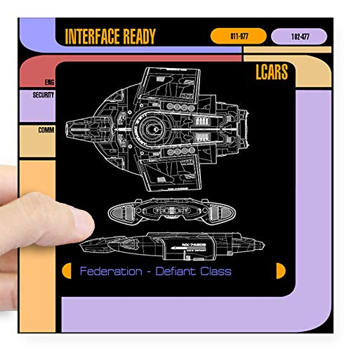 CafePress Star Trek LCARS, Defiant Blueprint Stoßstangenaufkleber Small - 3x3 weiß (Blueprint Die 3)