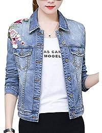 Abrigo De Jeans Elegante Mujer Moda Chaquetas De Mezclilla Otoño Bordados Un Solo Pecho Flor Manga