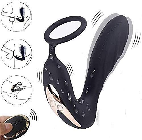 Prostata-Massagegerät Anal-Vibratoren mit Cockring-Fernbedienung Anal-Plug Sexspielzeug Männer mit zwei Motoren 10 mächtige Vibrationsmodi Prostata-Stimulator für Männer