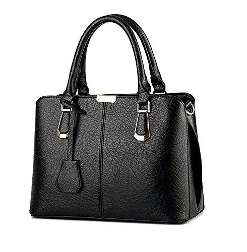 GaGadot Persönlichkeit PU Leder Geldbörse Tasche Damen top-handle Handtasche (schwarz) (Tote Zwei-ton-reißverschluss)