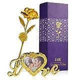 Zoylink 24K Gold Rose Goldfolie dekorative künstliche Rose Blume Geschenkbox Muttertagsgeschenk Valentinstag Hochzeit Gedenk Geburtstag Weihnachten Geschenk Thanksgiving Home Decoratio