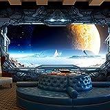 Sproudbz 3D stereo Spacecraft grande murale Technology laboratorio mobili camera da letto da parete a parete copre il fondo della fantascienza 350cmX245cm