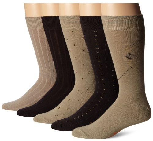 Dockers Mens Classics Dress Dobby Crew Socks (5 and 10 Pack) Khaki Assorted