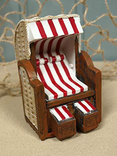 Unbekannt Mini Strandkorb rot/weiß aus Poly ca. 9,5x6x7cm Maritime Dekoration II. Wahl