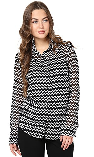 The Gud Look Women's Polyester Black & White Zig Zag Shirt X-Small Black  available at amazon for Rs.399