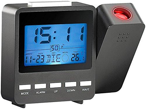 PEARL Projektionsuhr: Funk-Projektionswecker DAC-662.beam mit Temperaturanzeige (Wecker der an die Decke leuchtet) (Rot-licht-digital-wand-uhr)