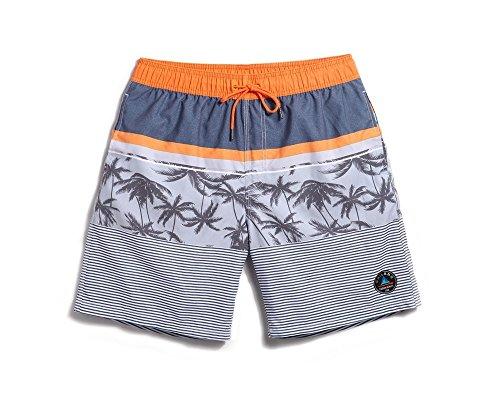 Lantra Besa CSM0012 Wasserabweisend Schnelltrocknend Herren Männer Badehose Badeshorts Knielang Boardshorts Beach Shorts für Wassersport im Sommer Gestreift Graue Kokospalme