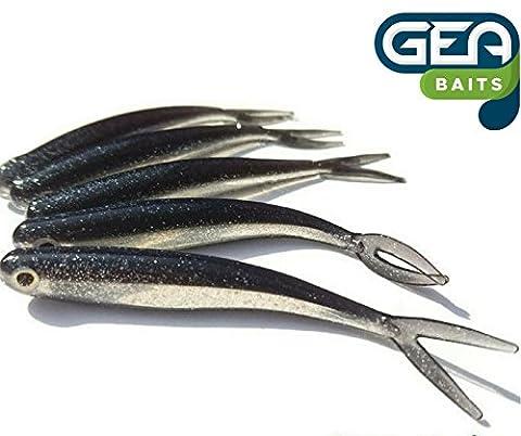 6x leurres souples en caoutchouc noir de 8cm pour têtes plombées ou Drop Shot Perche Pike de Pêche appât