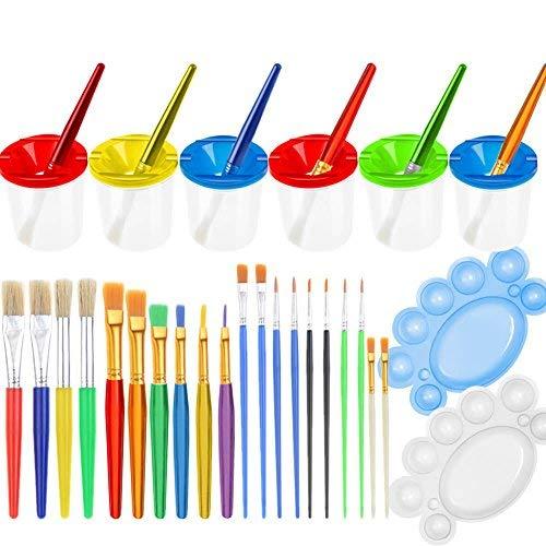 ne spill lackschalen mit kappen set und pinsel, kleinkinder und kinder 28pcs multicolor ()