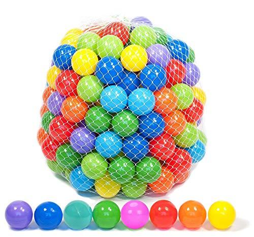 BELUPAID Pit Ball, 100 Stück, 4 cm, bunt, weicher Kunststoff, Schwimmkasten, Spielzeug Ball für Baby oder Kleinkinder, Spielzelte, Tunnel für drinnen und draußen.