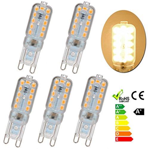 5×Neverland G9 5W LED SMD 22 * 2835 Capsule Birne ersetzen Silikon LED Licht Lampe Wechselstrom 220V-240V Warmweiß 2700K-3500K 40W Glühlampe Equivalent