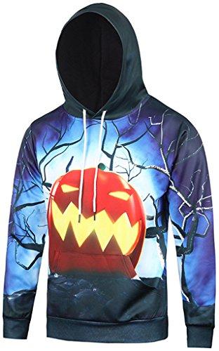 Pizoff Unisex Hip Hop Sweatshirts Kapuzenpullover mit Halloween 3D Digital Print geschenke Kürbis (Basic Engel Kostüm)