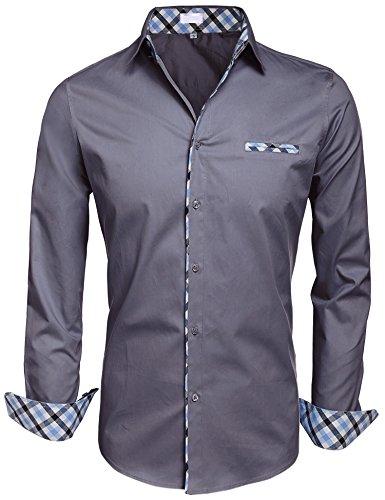 BeautyUU Herren Hemd Baumwolle Langarmhemd Slim Fit Freizeithemd Bügelleicht 1-Dunkelgrau
