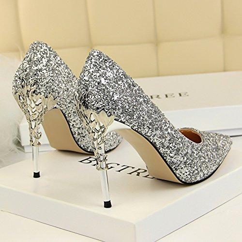 Xue qiqi cuoio punta argento di alta scarpe tacco ammenda con gradiente singolo femmina scarpe nozze d'oro scarpe,37, argento