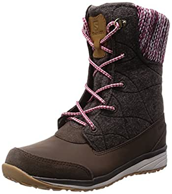 Salomon Women's Hime Mid-W Snow Boot, Absolute Brown-x/Absolute Brown-x/Light Grey, 5.5