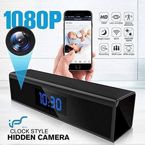 Caméra Espion,1080P Mini Caméra Cachée WiFi Réveil Caméra de Surveillance de Vision Nocturne Nanny Caméra Détection de Mouvement Surveillance en Temps réel à la Maison ou au Bureau