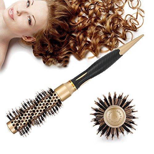 Spazzola rotonda dei capelli, spazzola per capelli in ceramica rotonda setole naturali in cinghiale per asciugare capelli, pettine antistatico professionale per capelli spazzola(25 mm)