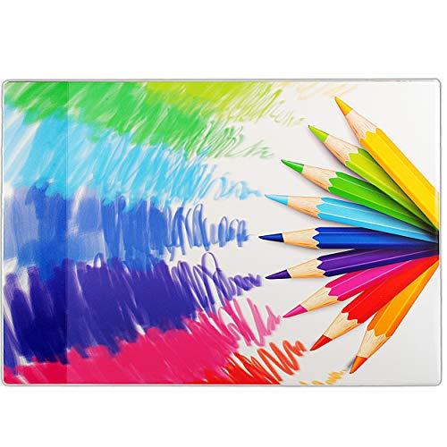 alles-meine.de GmbH Schreibtischunterlage / Unterlage -  Stifte & Farben  - 60 cm * 40 cm - Schreibunterlage - mit Einschubfach transparent - PCV - wasserfest abwischbar - abwa..