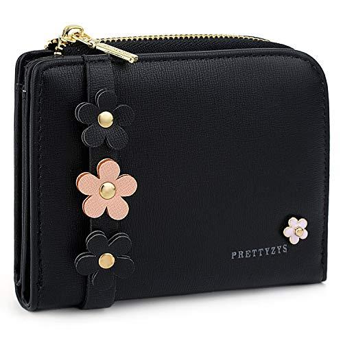 Kleine Brieftasche Pu-Leder Blumen Kartenhalter Organizer Mädchen Schwarz ()