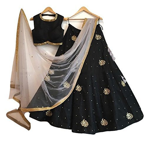 Drashti Villa Women\'s Georgette Black Color Heavy Bridal Wedding Lehenga Choli
