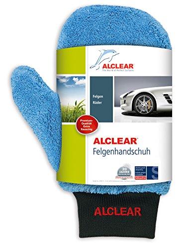 ALCLEAR 950013b Microfaser Auto Alu Felgen Reiniger-Handschuh für Autopflege Motorrad Fahrrad, 26x12 cm, ohne Bürste für Alufelgen, Stahlfelgen, Radkappen