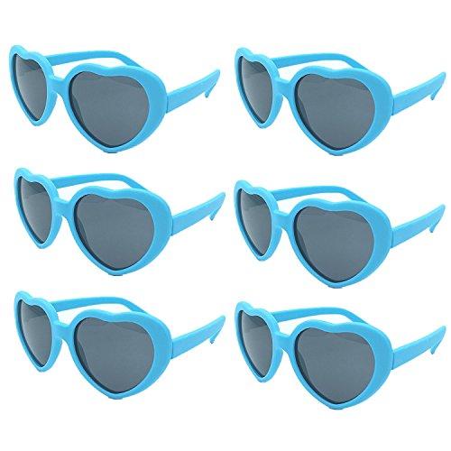 Neon colorati set occhiali da sole festa cuore vintage per bimbi adulti (occhiali da sole blu)