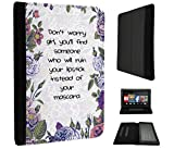 506 - Shabby Chic Floral Don't Worry Girl You'll Find Someone Who Will Ruin Your Lipstick Design Amazon Kindle Fire 7'' 5th Generation (2015 Release Nur) Fashion Trend TPU Leder Brieftasche Hülle Flip Cover Book Wallet Stand halter Case