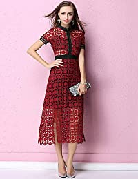 0840e1941 YFLTZ Vestido Sofisticado Chic a la Calle para Mujer - Encaje de Color Liso