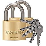 STANLEY Solid Brass Vorhangschloss 40 mm mit Standard-Bügel, 2er Pack, gleichschließend, 5 Schlüssel, S742-036, Schloss, Bügelschloss