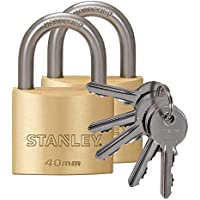 Stanley 81103371402 Cadenas laiton 40 mm 2 pièces Anse Standard Or