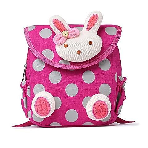 URAQT Baby Schultasche, 3D Niedlicher Kaninchen Kinder Mini Rucksack für Mittagessen / Sport / Picknick (Scuola Velcro)