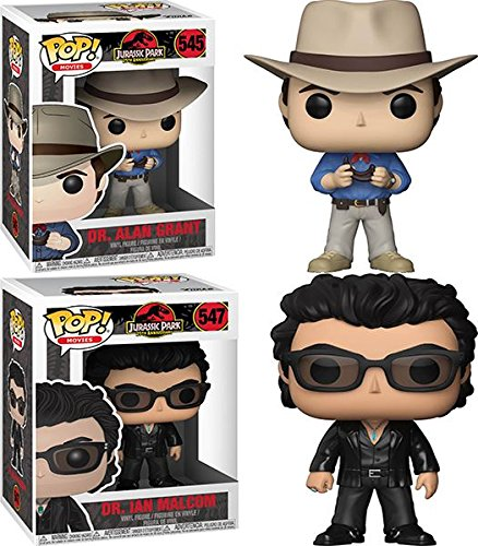 Funko POP Jurassic Park Dr Alan Grant Dr Ian Malcolm Vinyl Figure Set NEW