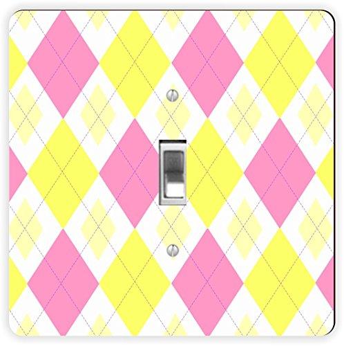 Rikki Knight Pink Gelb Argyle Mini yellows-single Toggle Lampe Switch Plate (Wall Yellow Plate)